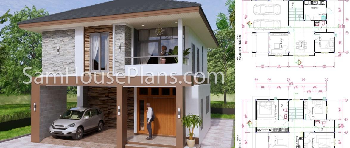 27×40 Feet House Plans 8×10 Meters 4 Bedrooms