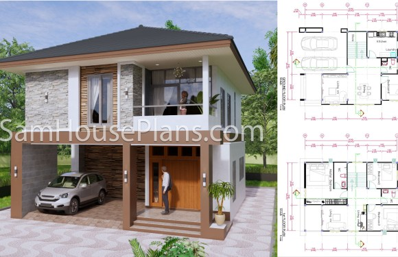 27×40 Feet House Plans 8×10 Meters 4 Bedrooms