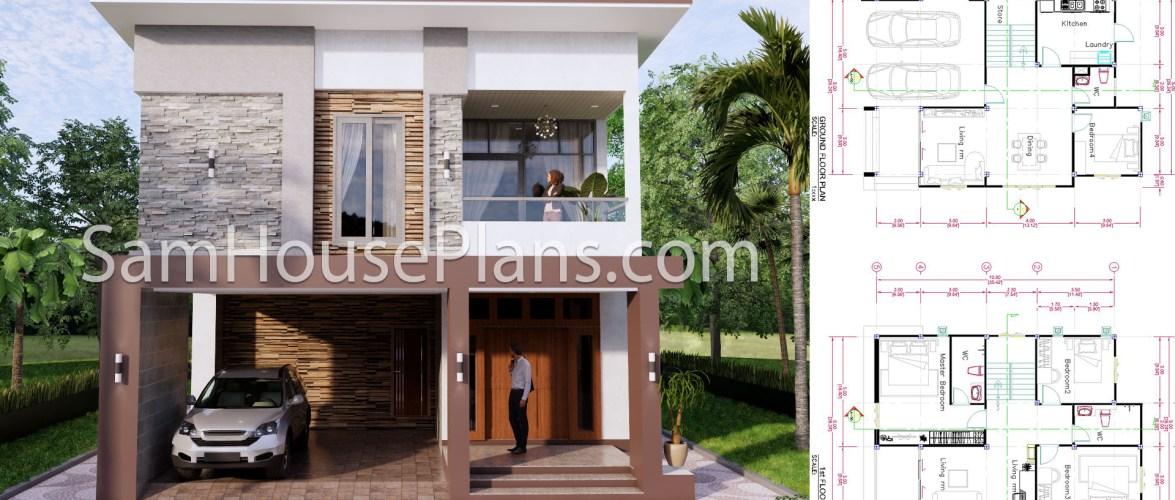 27×40 House Plans 8×10 Meters 4 Bedrooms