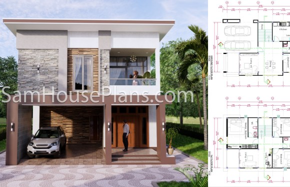 27×40 House Plans 8×10 Meters 4 Bedrooms