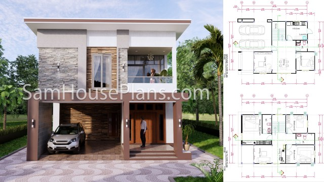 27x40 House Plans 8x10 Meters 4 Bedrooms