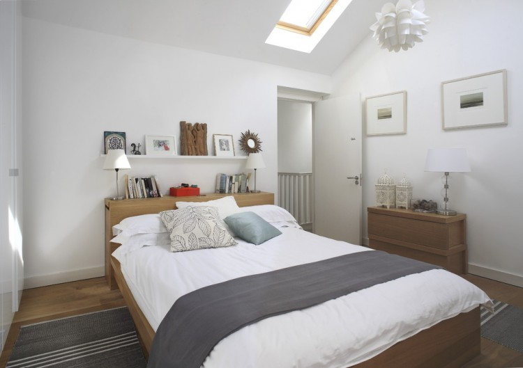Pure White Bedroom Shows Vintage Furniture With Long Ikea