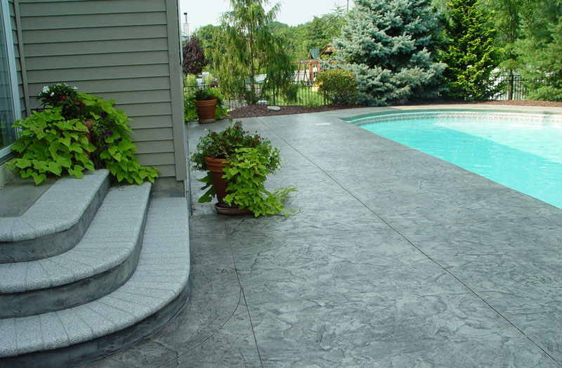 Stamped Concrete Patio Stairs Ideas And Around Small Pool
