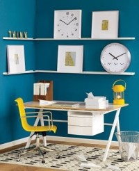 Modern Office Space with Blue Walls and Yellow Accents