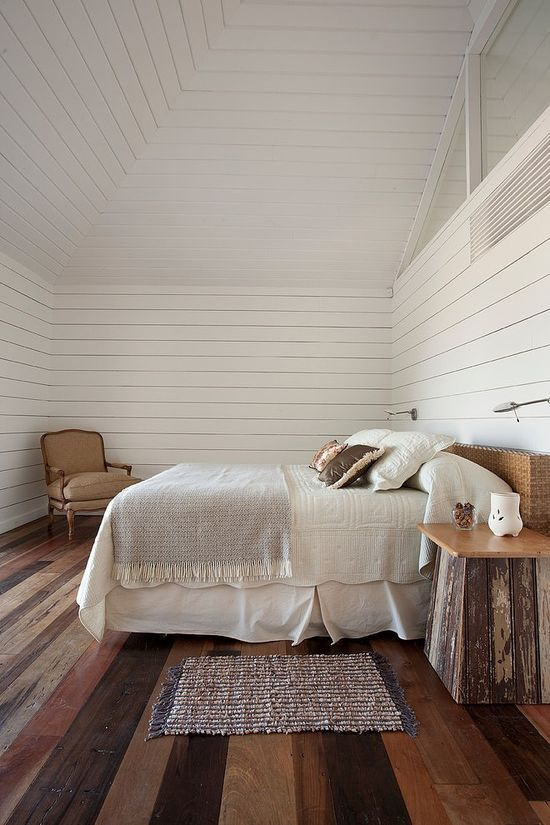Rustic Bedroom With White Wood Walls  HomeDesignBoard