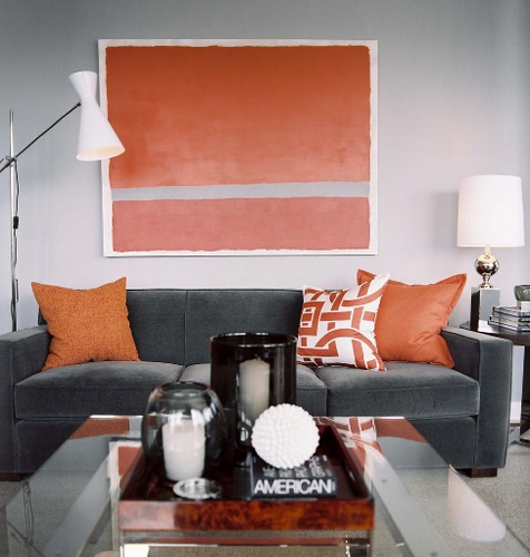 accessorize grey living room types of chairs redefine your space upgrade home by adding color and texture sofa with throw pillows orange