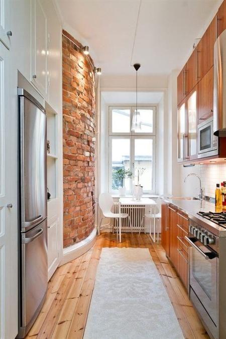 Shotgun Kitchen with Exposed Brick Wall  HomeDesignBoard