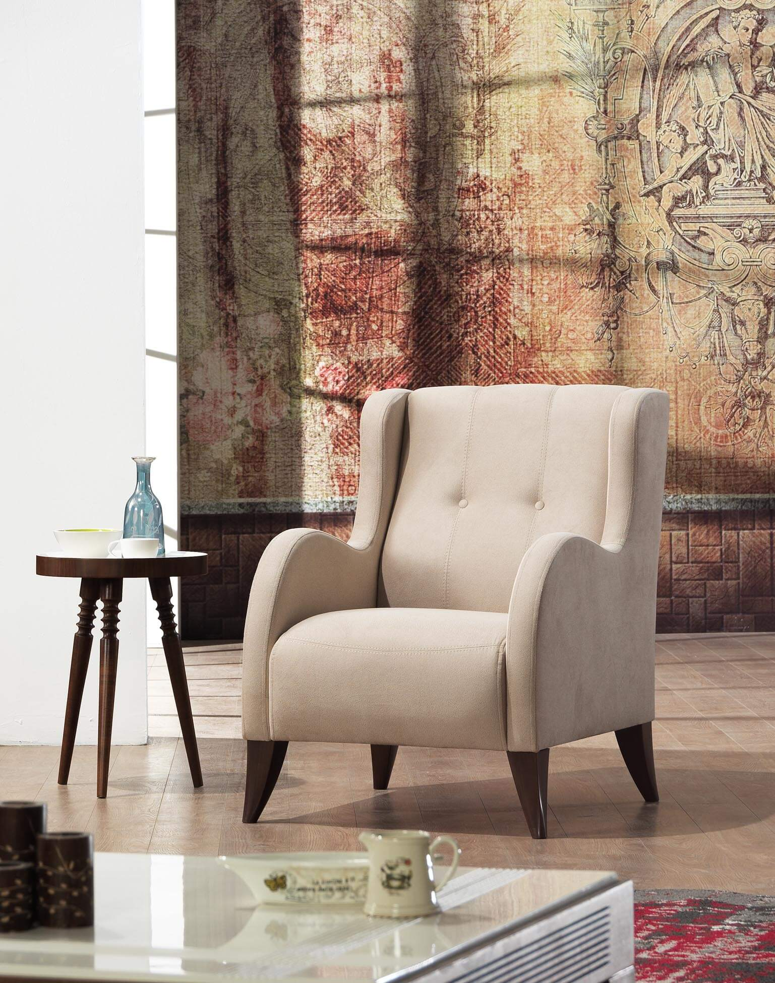 Modern Wing Chair Mare Collection Orion Modern Wing Chair Shaker Beige