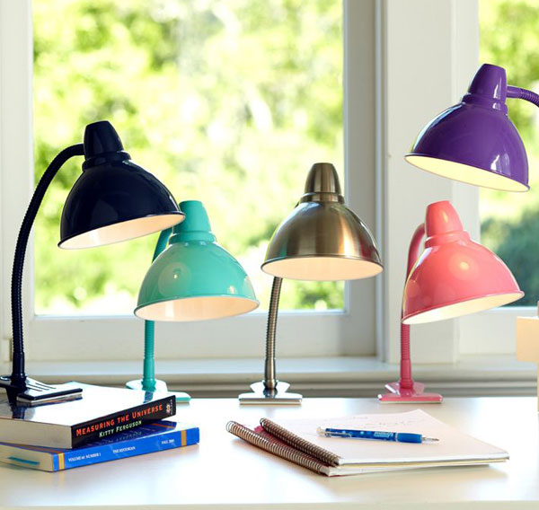 task lamps from pottery barn teen