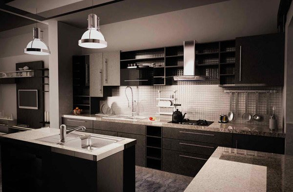 white kitchen cabinets glass doors table base 15 bold and black designs | home design lover