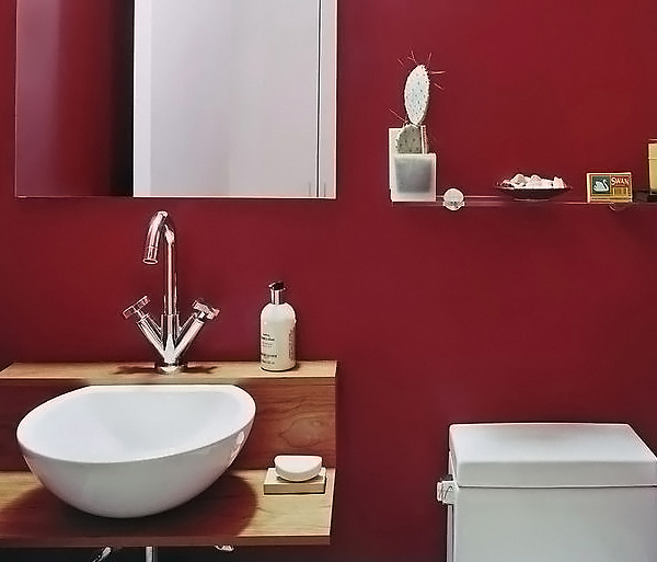 Modern Gray Bathroom 15 Stunningly Hot Red Bathroom Designs | Home Design Lover