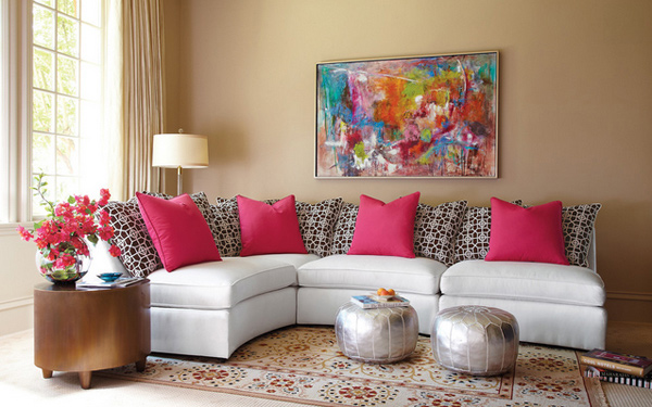 pink sofa furniture apartment size reclining sectional sofas 15 pretty in living room designs | home design lover