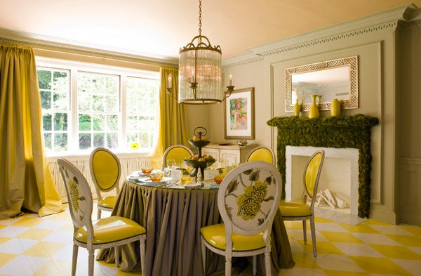 settee living room drapery ideas 17 bright and pretty yellow dining designs | home ...