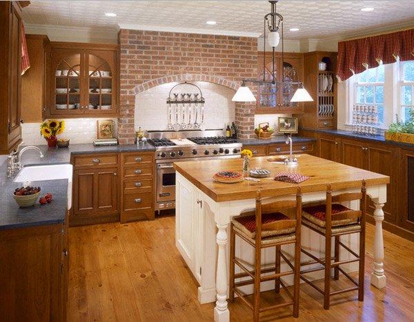 brick wall kitchen ideas 15 Charming Brick Kitchen Designs | Home Design Lover