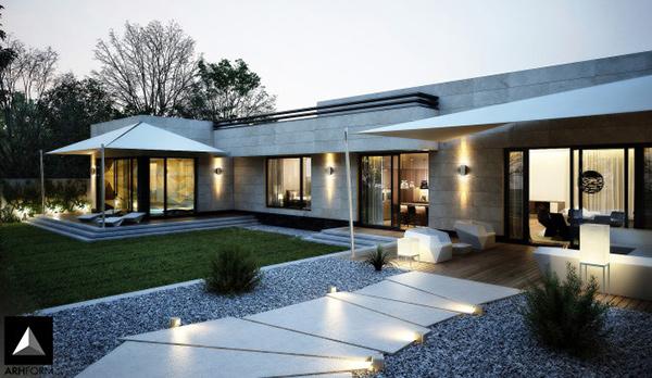 modern front yard landscape