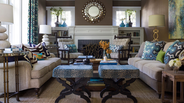 15 Interesting Combination Of Brown And Blue Living Rooms
