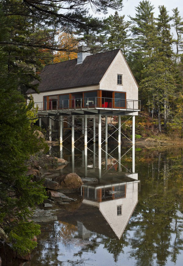 floating island kitchen european cabinet hardware pond house: a warf inspired cottage in maine | home design ...