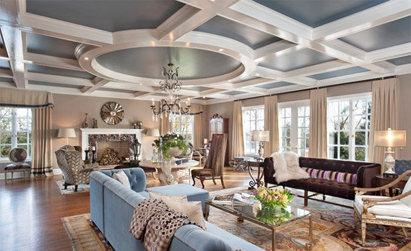 Coffered Ceilings in 15 Contemporary Living Rooms