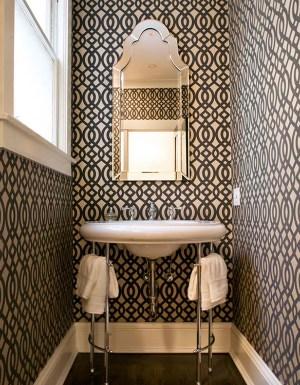 bathroom bathrooms powder rooms designs graphic wall bath dark bold paper walls decor space decorating geometric designer tiny pattern spaces