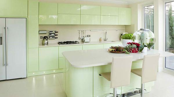 different color kitchen cabinets home depot backsplash tile 15 pastel green kitchens for a lighter look   design ...