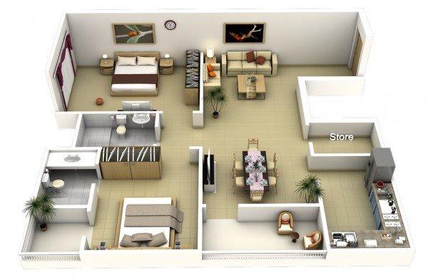20 Interesting TwoBedroom Apartment Plans  Home Design Lover