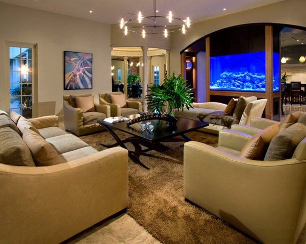 22 Contemporary Living Room Designs with Fish Tanks  Home Design Lover