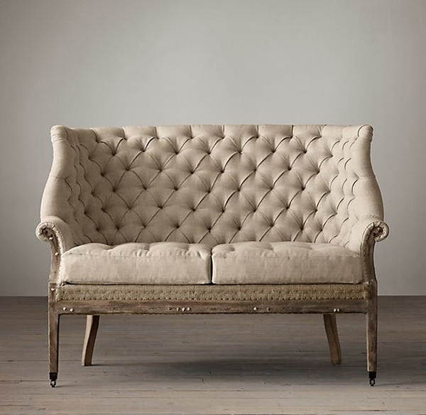 linen bench cushion sofa loveseat and combo 20 beautiful distressed shabby chic seatings | home design ...