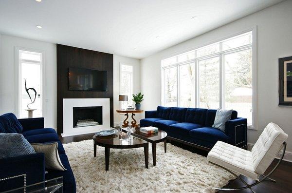 Modern Living Room With Blue Sofa Novocom Top