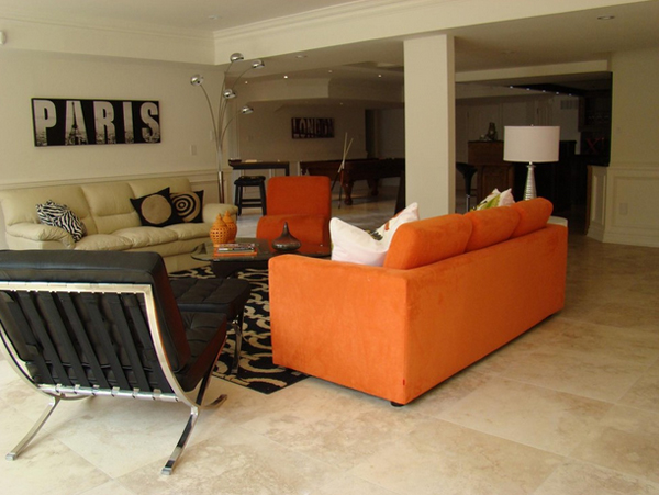 orange couch living room ideas rug size furniture 23 fruity sofa home design lover small arrangements