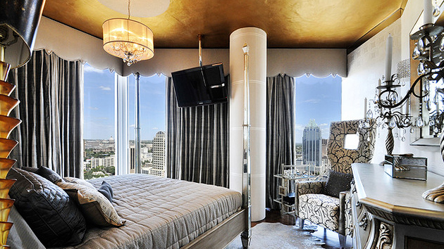 bedroom with gold accents