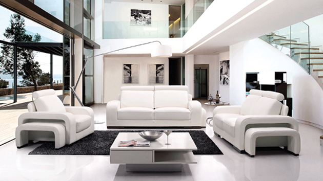 20 Stunning White Leather Living Room Furniture Home