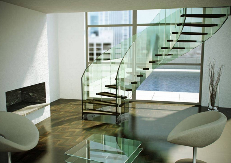 22 Sleek Glass Railings For The Stairs Home Design Lover | Duplex Stairs Wall Design | Middle Room Interior Design | Attractive | Staircase Wall Panel | Living Room Layout | Bungalow Duplex Indian