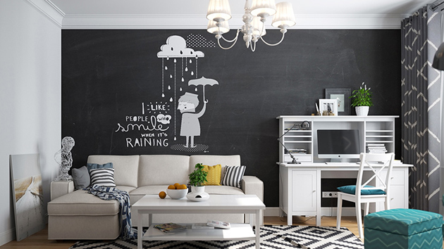 20 Chalkboard Walls and Decors in the Living Room  Home Design Lover