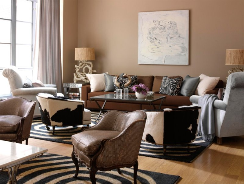 brown and gray living room designs