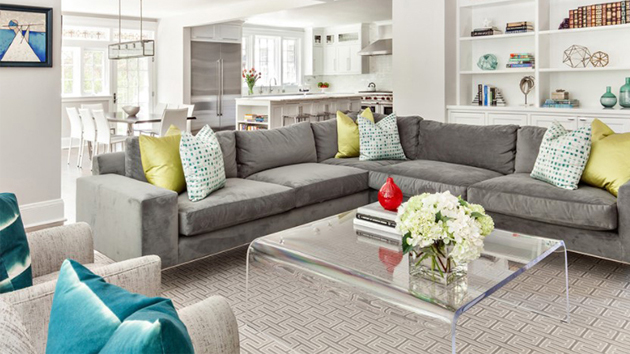 gray l shaped sofa for the living room
