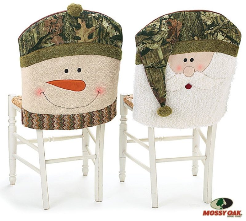 decorative chair covers for sale nursery recliner christmas holiday cover pattern home designing buy mossy oak santa and snowman camouflage back