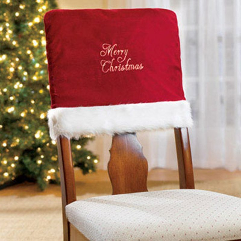 christmas elf chair covers fold up rocking holiday cover pattern home designing merry embroidered red for dinner decor