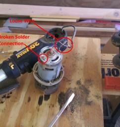 battery string trimmer broken solder connection to motor [ 1344 x 760 Pixel ]
