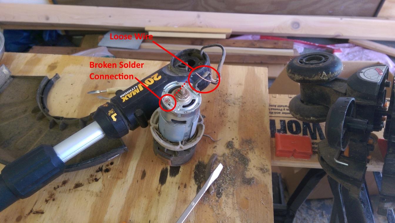 hight resolution of battery string trimmer broken solder connection to motor