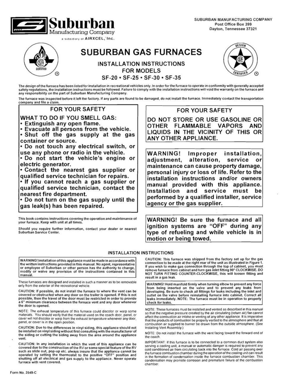 medium resolution of suburban manufacturing company post office box 399 dayton tennessee 37321 certified suburban gas furnaces installation