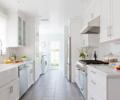 white galley kitchen