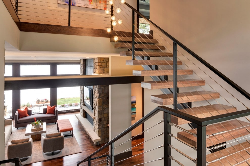 12 Modern Staircases And Railings   Modern Stainless Steel Staircase Railing   Glass   Rectangle   Elegant   Modern Farmhouse   Hand