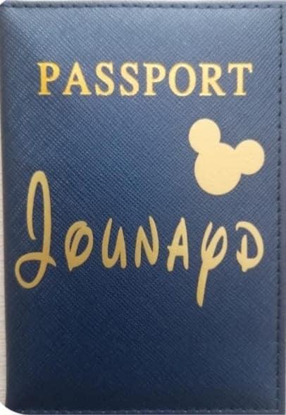 Etui passeport bleu personnalisé