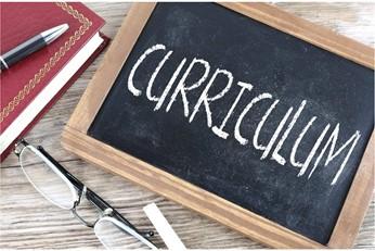 """""""CURRICULUM"""" written from chalk on a blackboard— homeschooling curriculum"""
