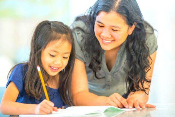 Illustration showing mum homeschooling daughter