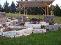 Backyard stone patio ideas - large and beautiful photos ...