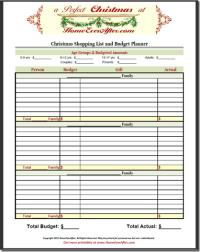 Christmas Shopping List Planner Budget Spreadsheet ...