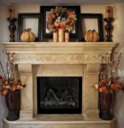 DIY Fall Living Room Decoration With Fireplace Ideas0004