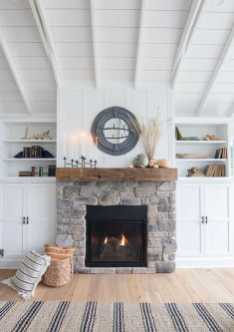 DIY Fall Living Room Decoration With Fireplace Ideas0006