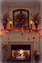 DIY Fall Living Room Decoration With Fireplace Ideas0009